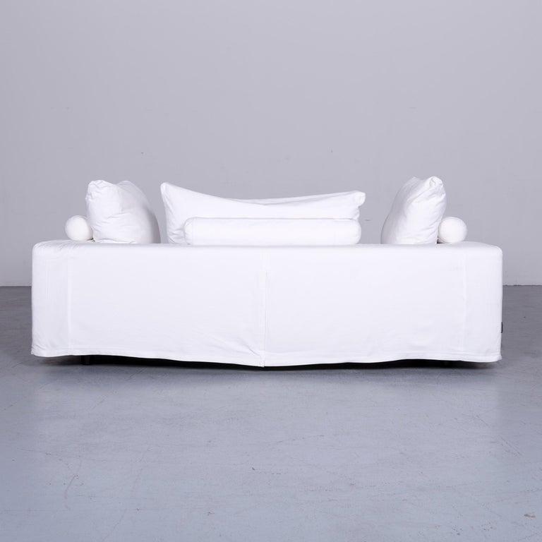 Flexform Poggiolungo Designer Fabric Sofa White Couch 5