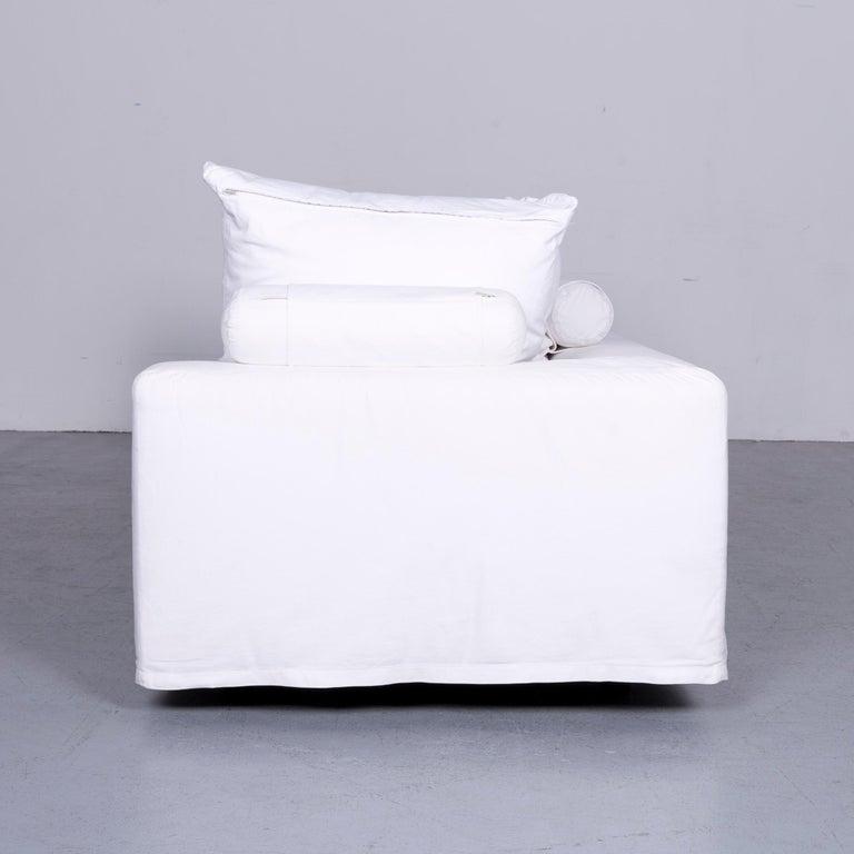 Flexform Poggiolungo Designer Fabric Sofa White Couch 6