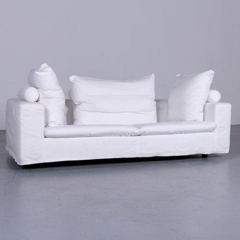 We bring to you an Flexform Poggiolungo designer fabric sofa white couch.