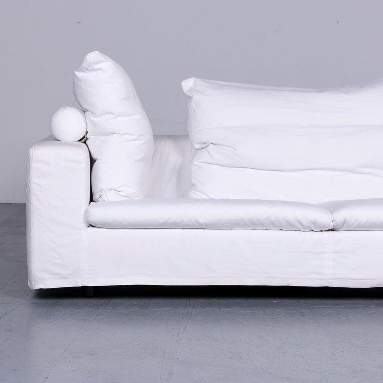 German Flexform Poggiolungo Designer Fabric Sofa White Couch