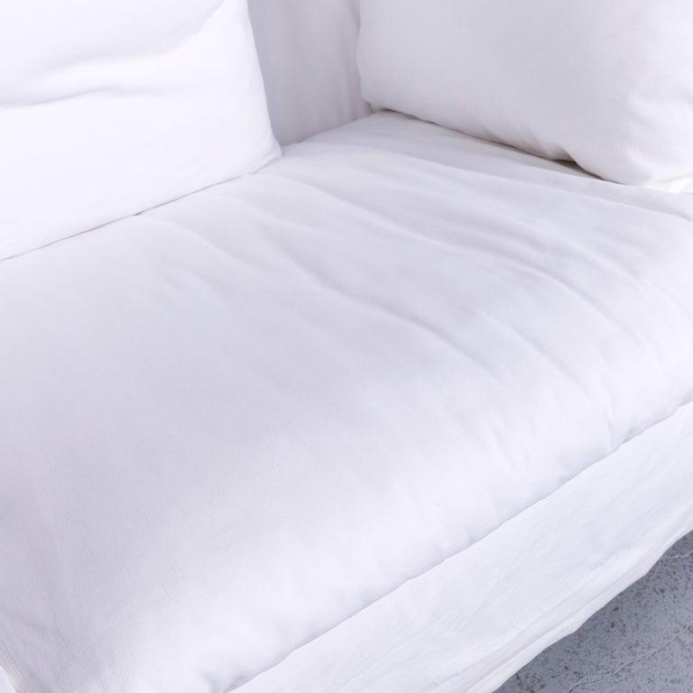 Contemporary Flexform Poggiolungo Designer Fabric Sofa White Couch