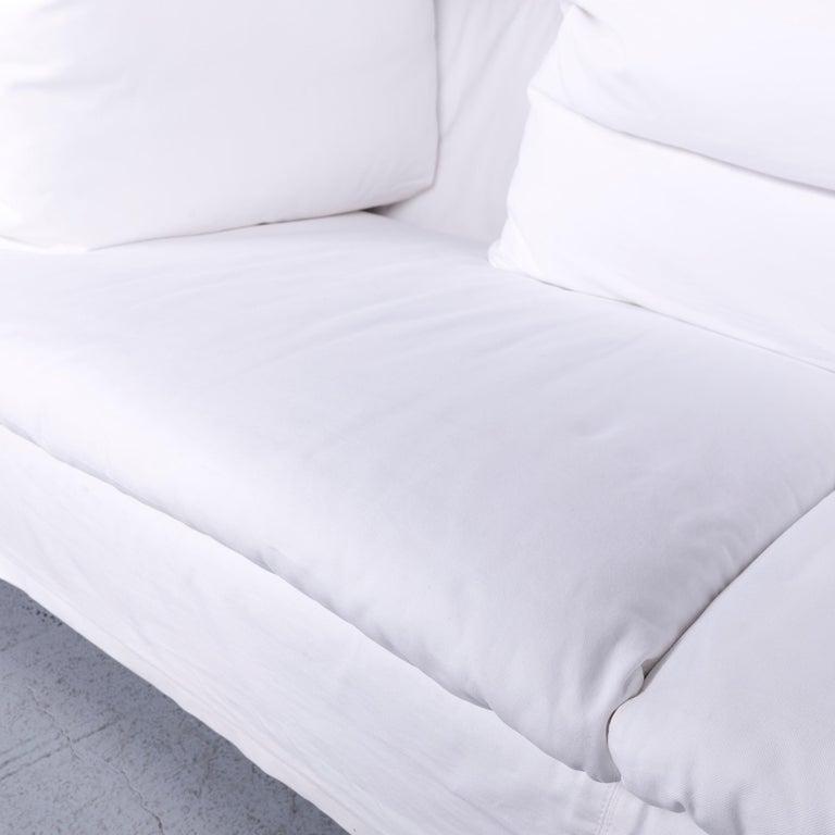 Flexform Poggiolungo Designer Fabric Sofa White Couch 1