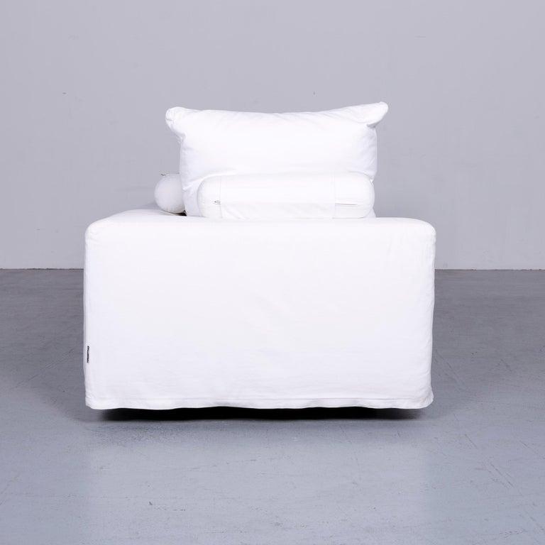 Flexform Poggiolungo Designer Fabric Sofa White Couch 4