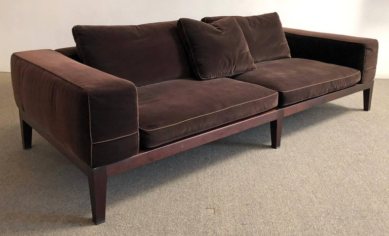 Flexform / made in Italy. Sofa designed by Antonio Citterio. Finished wood legs with plush velvet upholstery. Designed for comfort.