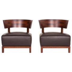 Flexform Thomas Wood Leather Armchair Set Brown Dark Brown 2 Chair Antonio