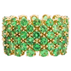 Flexible 6-Row Tsavorite Garnet Band Ring