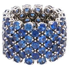 Flexible 7-Row Blue Sapphire Ring