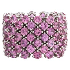 Flexible 7-Row Pink Sapphire Ring