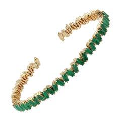 Flexible Baguette Emerald 18 Karat Gold Bangle Bracelet