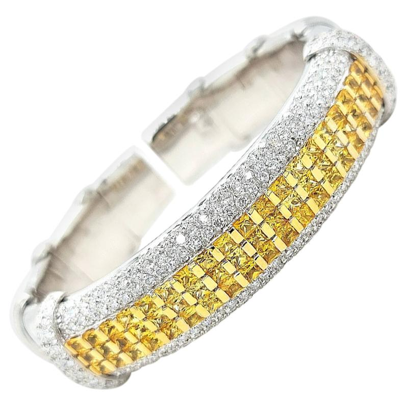 Flexible Cuff / Bangle Bracelet with Yellow Sapphires & Diamonds 18Kt White Gold