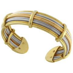 Flexible Cuff Bracelet in Three-Color Gold