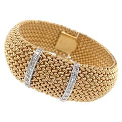 Flexible Woven Yellow Gold Cuff Bracelet with Single Cut Diamonds, circa 1960