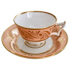 Flight and Barr Porcelain Teacup, Peach with Gilt, Georgian 1795-1804