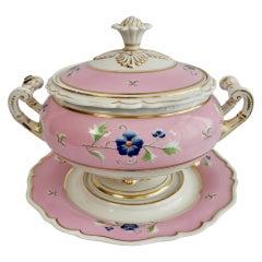Flight Barr & Barr Large Porcelain Soup Tureen, Pink, Regency ca 1820