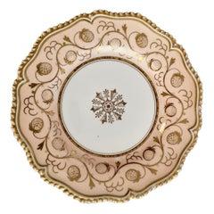 Flight Barr & Barr Porcelain Plate, Peach, Gilt Strawberries, Regency