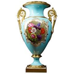 Flight Barr & Barr Vase with Flower Panel, Gilding, Duck-Egg Blue Ground