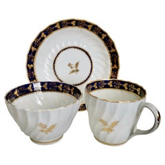 Flight & Barr Worcester Teacup Trio, Cobalt Blue Gilt Thistle Pattern, ca 1792