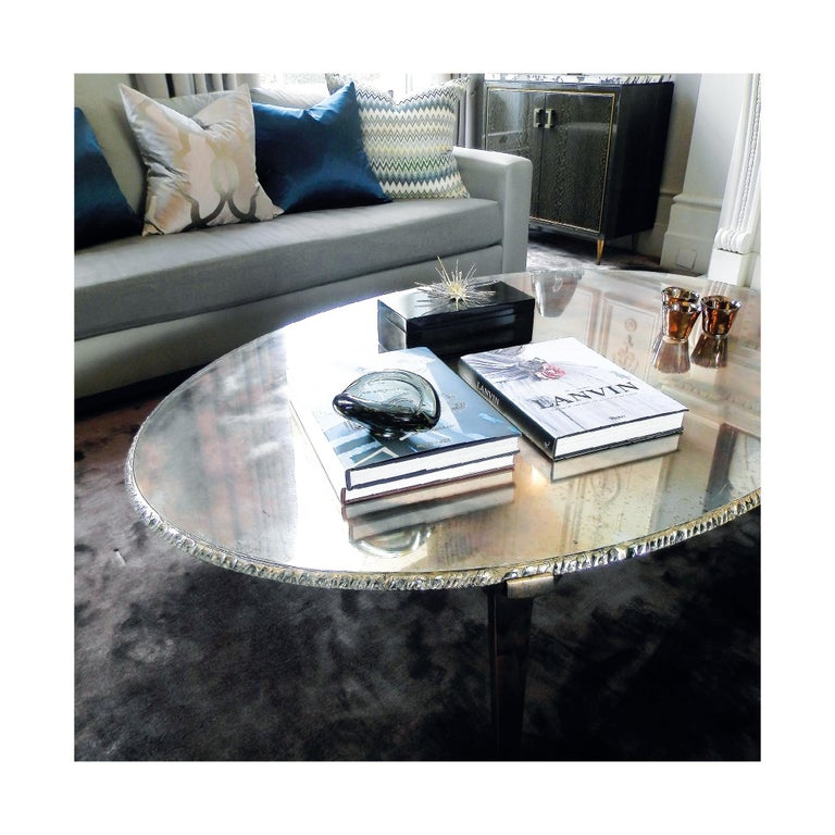 Flight contemporary Coffee-low Table, 70x50cm, rose glass base, Silvered Glass For Sale 10