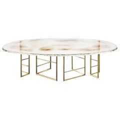 """Flight"" Contemporary Dining Table, Double Silvered Glass Top, Cast Brass Legs"
