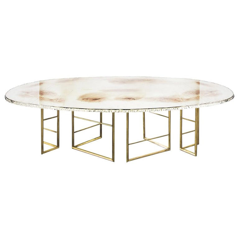 """""""Flight"""" Contemporary Dining Table, Double Silvered Glass Top, Cast Brass Legs For Sale"""