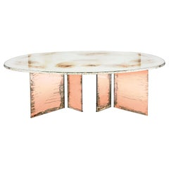 """Flight"" Contemporary Dining Table, Double Silvered Glass Top, Rose Glass Legs"