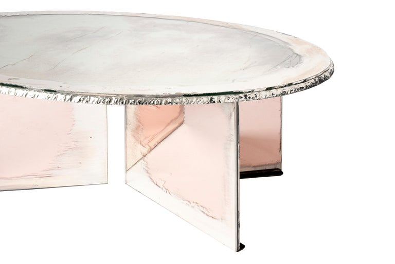 Modern Flight Contemporary Low-Coffee Table, Silvered Double Surface For Sale