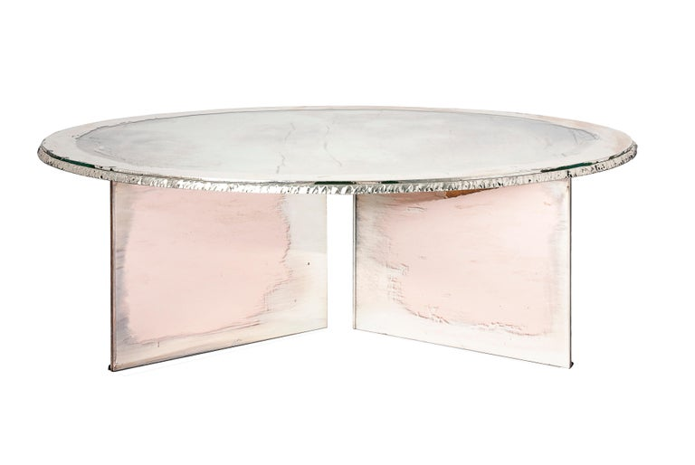 Italian Flight Contemporary Low-Coffee Table, Silvered Double Surface For Sale