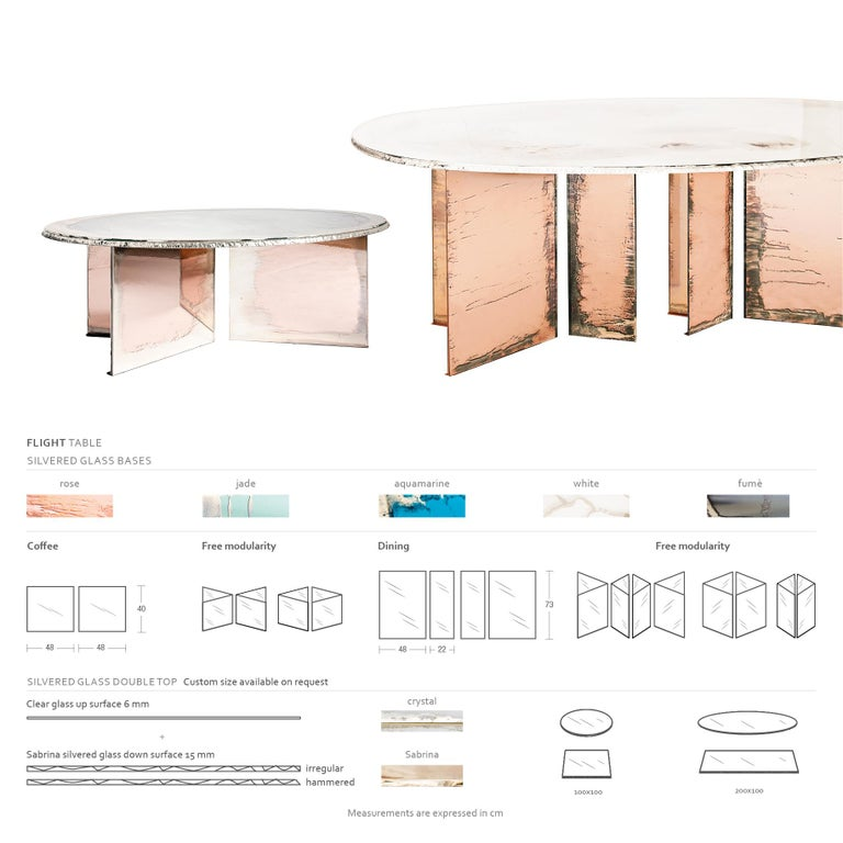 Flight Contemporary Low-Coffee Table, Silvered Double Surface In New Condition For Sale In Pietrasanta, IT