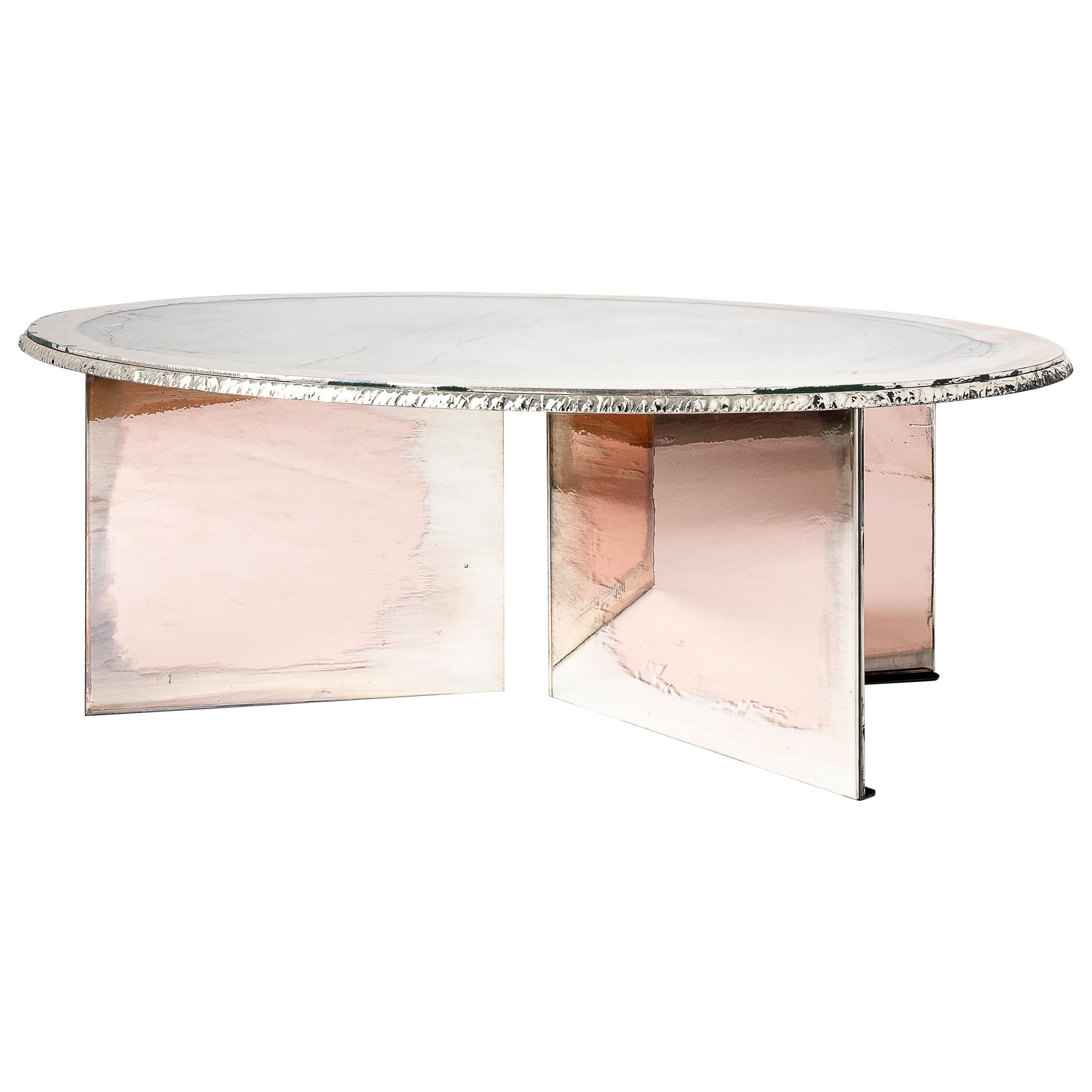 Flight Contemporary Low-Coffee Table, Silvered Double Surface