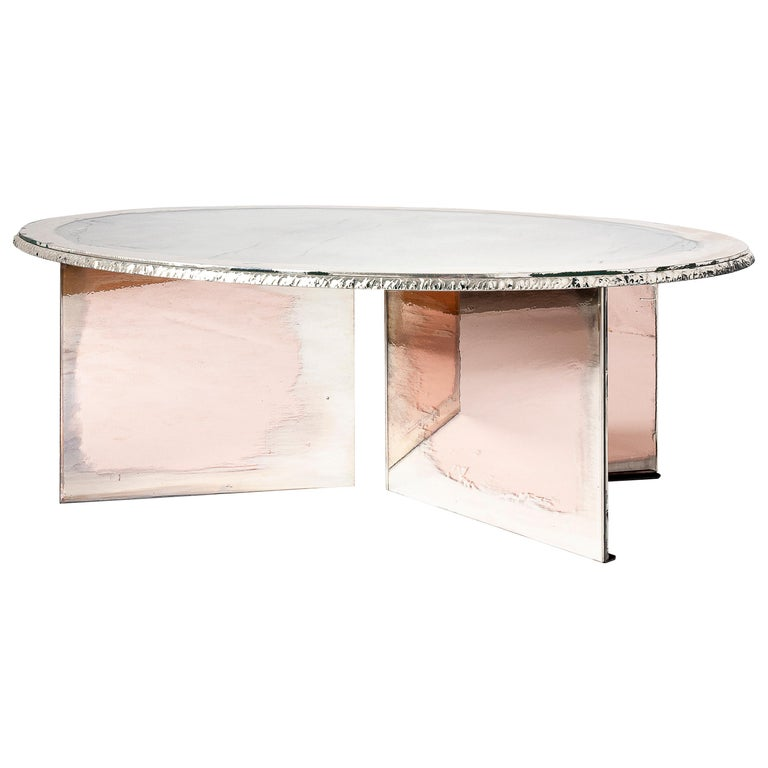 Flight Contemporary Low-Coffee Table, Silvered Double Surface For Sale