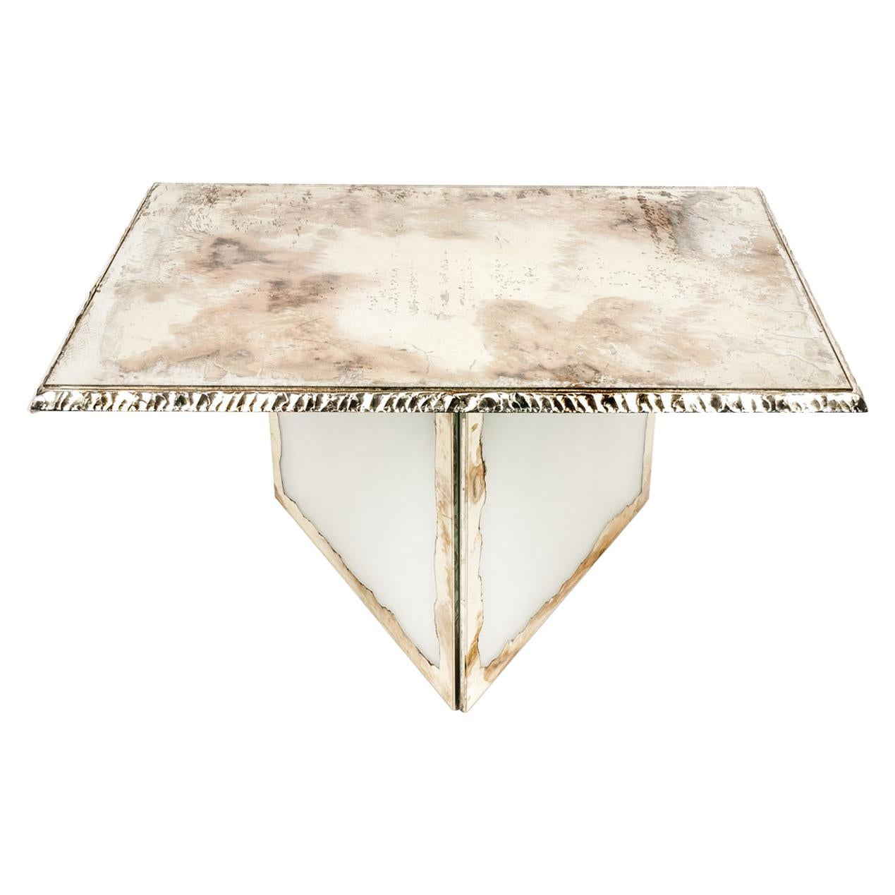 Flight Contemporary low-Coffee Table, 70x50 cm White silvered glass