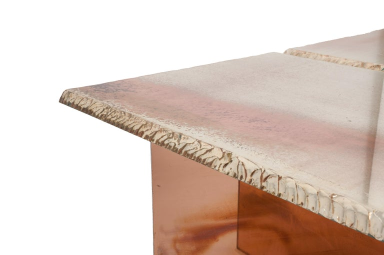 Italian Flight Dining Table Double Silvered Glass Top with Wings Legs, Handmade in Italy For Sale