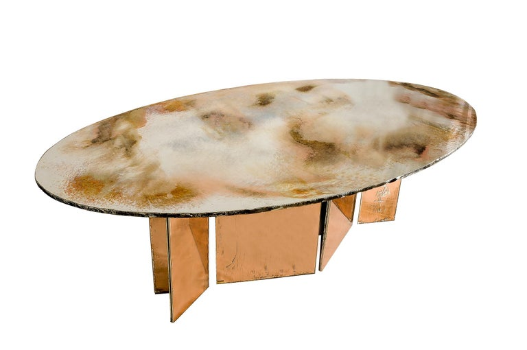 Flight Dining Table Double Silvered Glass Top with Wings Legs, Handmade in Italy In New Condition For Sale In Pietrasanta, IT