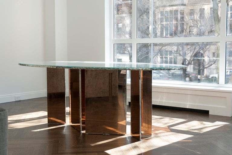 Flight Dining Table Double Silvered Glass Top with Wings Legs, Handmade in Italy For Sale 4