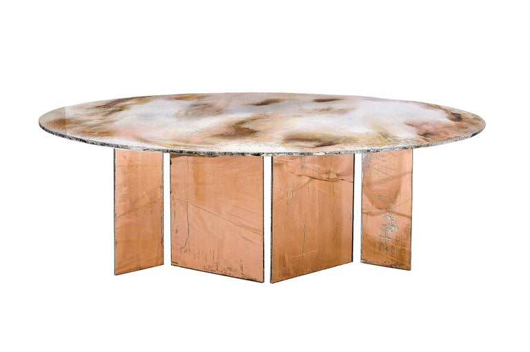 Contemporary Flight Dining Table Double Silvered Glass Top with Wings Legs, Handmade in Italy For Sale