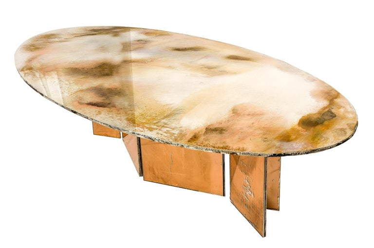 Flight Dining Table Double Silvered Glass Top with Wings Legs, Handmade in Italy For Sale 1