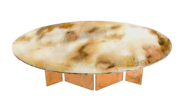 Flight Dining Table Double Silvered Glass Top with Wings Legs, Handmade in Italy For Sale 2