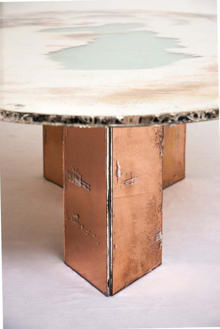 Modern Flight Dining Table Double Silvered Glass Top with Wings Legs, Handmade in Italy For Sale