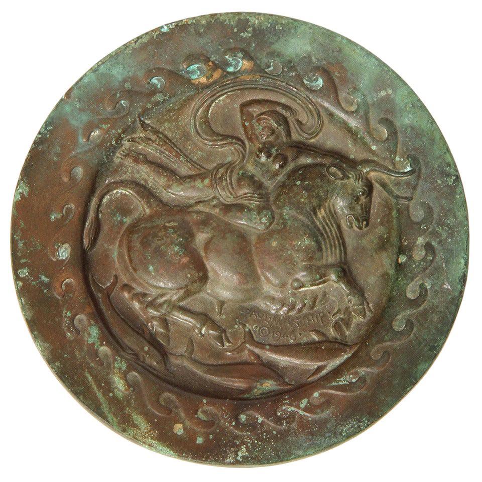 Flight of Europa Bronze Art Deco Plaque by Paul Manship