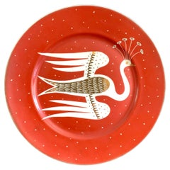"""Flight of the Crested Bird,"" Art Deco Plate by Gregory w/ Brilliant Red Glaze"