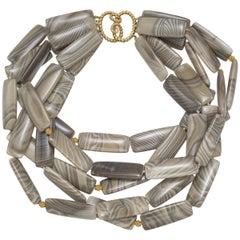 Flint and 18 Karat Yellow Gold Bead Necklace