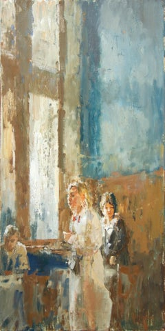 In The Cafe, 21st Century Contemporary Oil Painting, Dutch Artist Flip Gaasendam