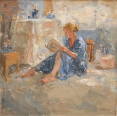 Maja in Kimono, reading- 21st Century Contemporary Figure Painting of a Woman