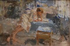 Maja Reading in a White Kimono- 21st Century Contemporary Dutch Painting