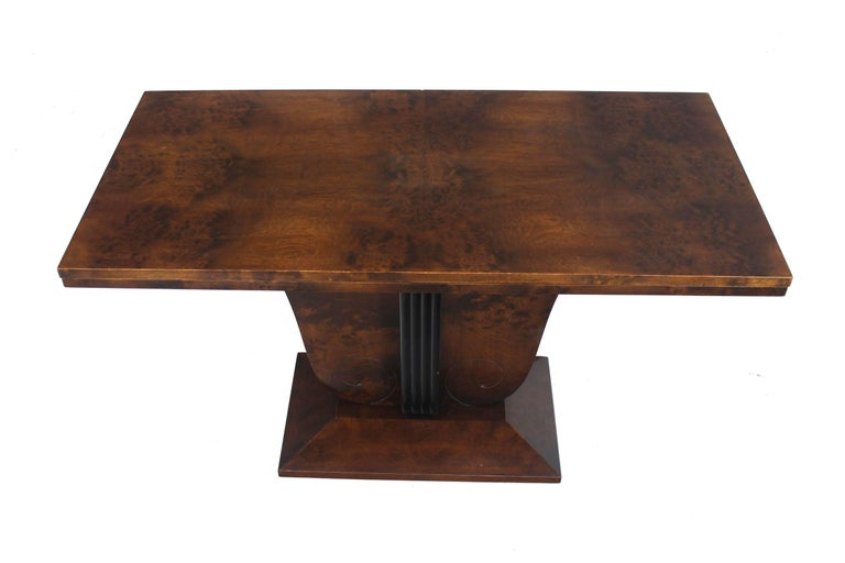 Flip Top Burl Wood Dining Large Console Table Deco Figural