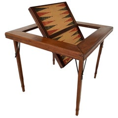 Flip-Top Cork and Wood Backgammon Table