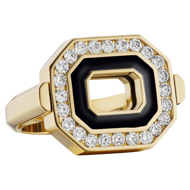 Flip Top Diamond and Black Enamel Gold Ring