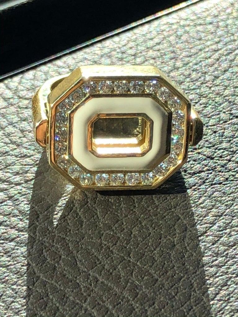 Modern Flip Top Diamond, Emerald and Enamel Ring in 18 Karat Yellow Gold For Sale