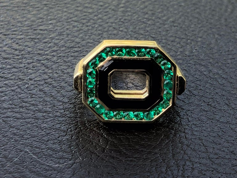 Round Cut Flip Top Diamond, Emerald and Enamel Ring in 18 Karat Yellow Gold For Sale