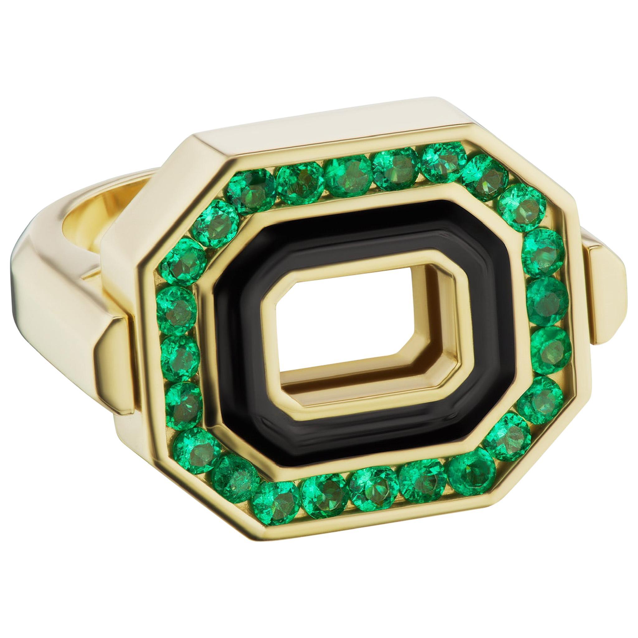 Flip Top Diamond, Emerald and Enamel Ring in 18 Karat Yellow Gold